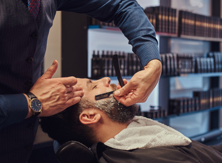 Man Getting Face Shave